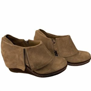Dr. Scholl's Taupe Babe Suede Wedge Booties--9 1/2